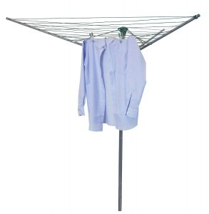 JVL 30 m Compact and Robust 3-Arm Steel Rotary Clothes Airer Drier